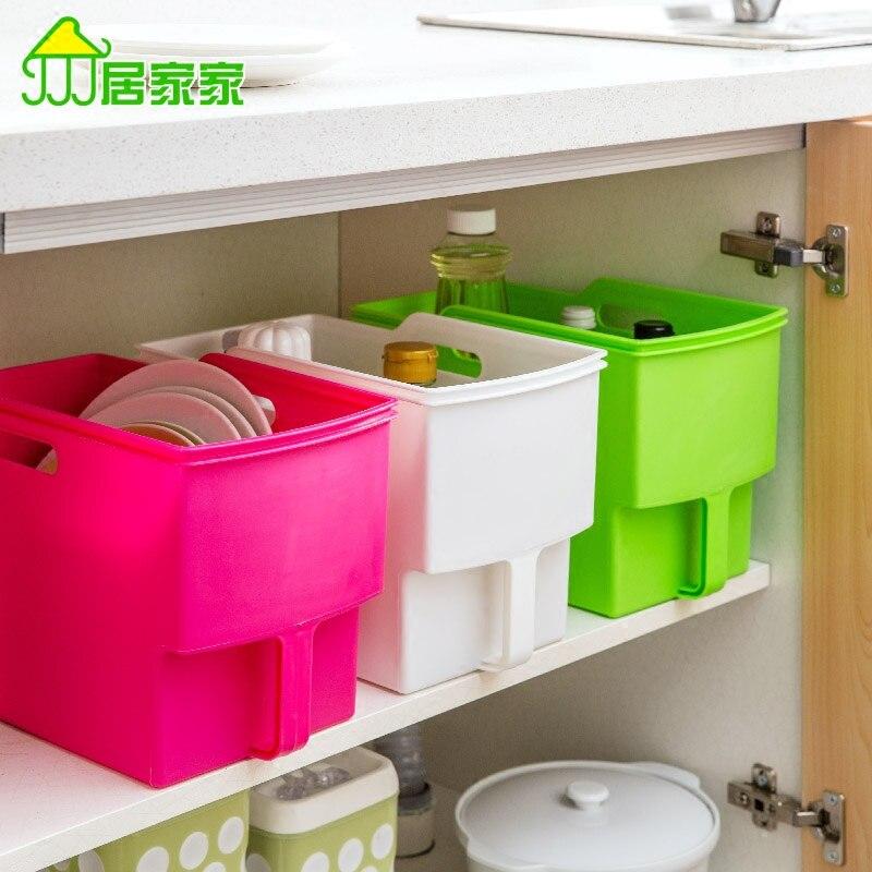 Kitchen supplies household plastic storage box with handle debris storage box
