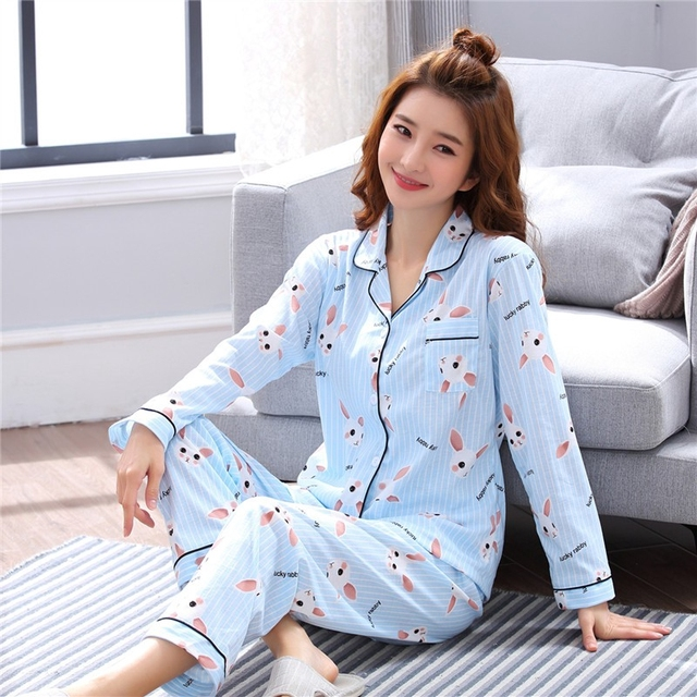 780cb74848 Women Clothes Autumn Pajamas Long-sleeved Knit Suits Girl Fashion Casual  Outerwear Sleepwear Night Suit