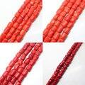 """Mini. orden es $7! 8-14x12-17mm Facetado Rojo Naranja Coral ángulo de conecte el Tubo de Forma Libre los Granos Flojos Del Espaciador 15"""""""