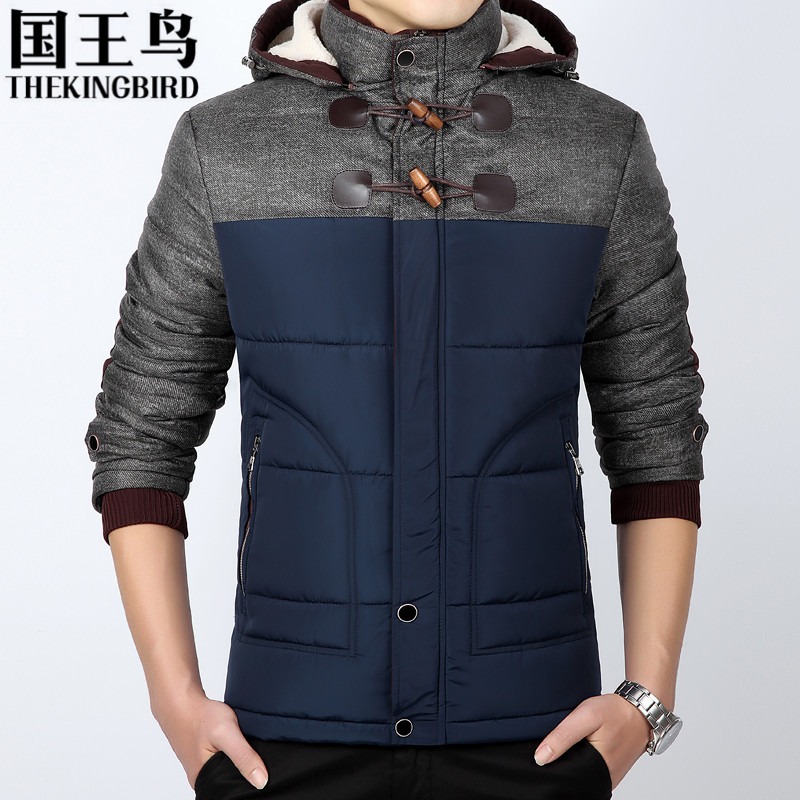 Winter cotton jacket men Hooded Plus velvet Wool Liner Thickening winter Coat Slim Large size cotton Warm jacket M-5XL 1688#