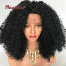 hot deal buy afro kinky curly wig heavy density synthetic lace front wigs for black women lace front wigs black kinky curly synthetic hair