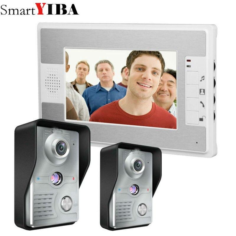 SmartYIBA 7 Inch Wired Video Door Phone Intercom 2V1 Video Doorphone Video Doorbell In Access Control System