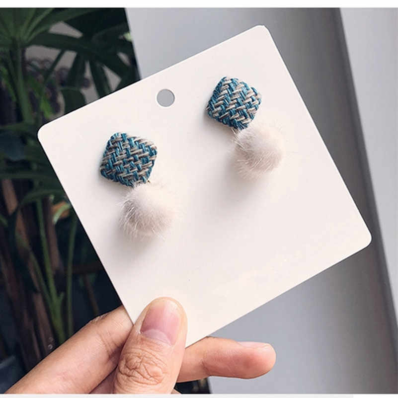 2019 hot Korean warm temperament hair ball square cute female earrings