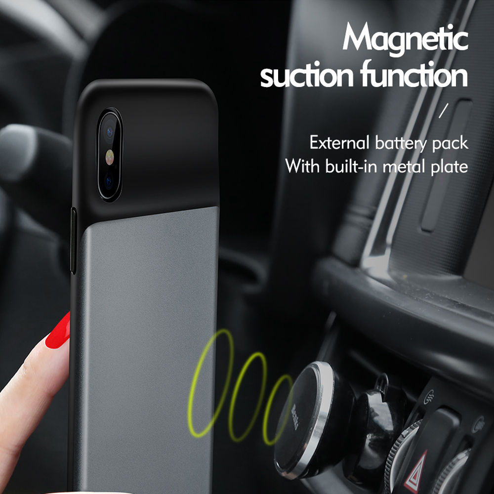 External Battery Pack + Magnetic Function Case For iPhone X Cover Wholesale Luxury Liquid Smart Blank Phone Case For iPhoneX