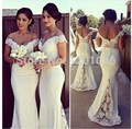 Custom Made 2017 Mermaid V-neck Cap Sleeves White Satin Lace Long Cheap Bridesmaid Dresses Under 50 Wedding Party Dresses