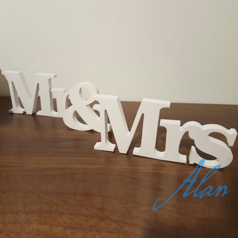 free shipping Mr and Mrs wedding sign wooden script PVC letters white decor rustic freestanding sweetheart table custom colors