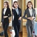 Plus Size 4XL Formais Terninhos Com Jaquetas E Calças Slim Moda Outono Inverno Senhoras Calças Definir Calças Ternos Blazers
