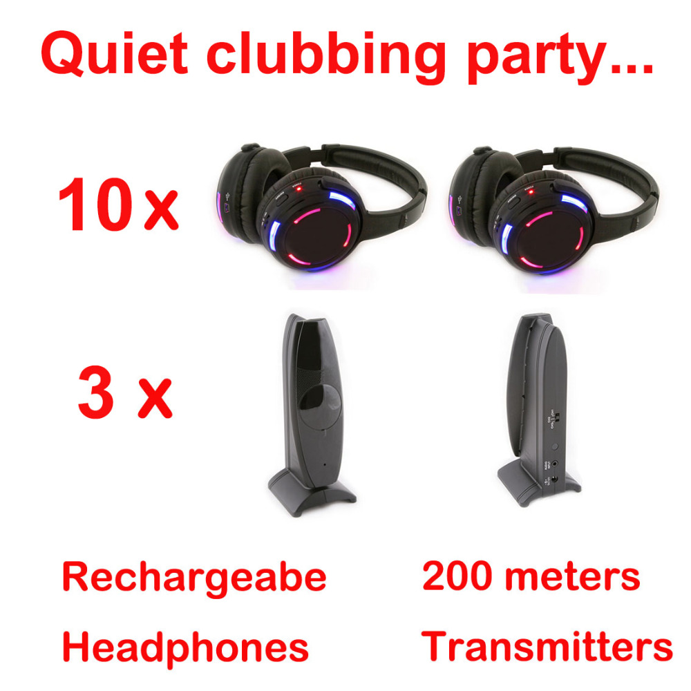Silent Disco complete system black led wireless headphones - Quiet Clubbing Party Bundle (10 Headphones + 3 Transmitters)