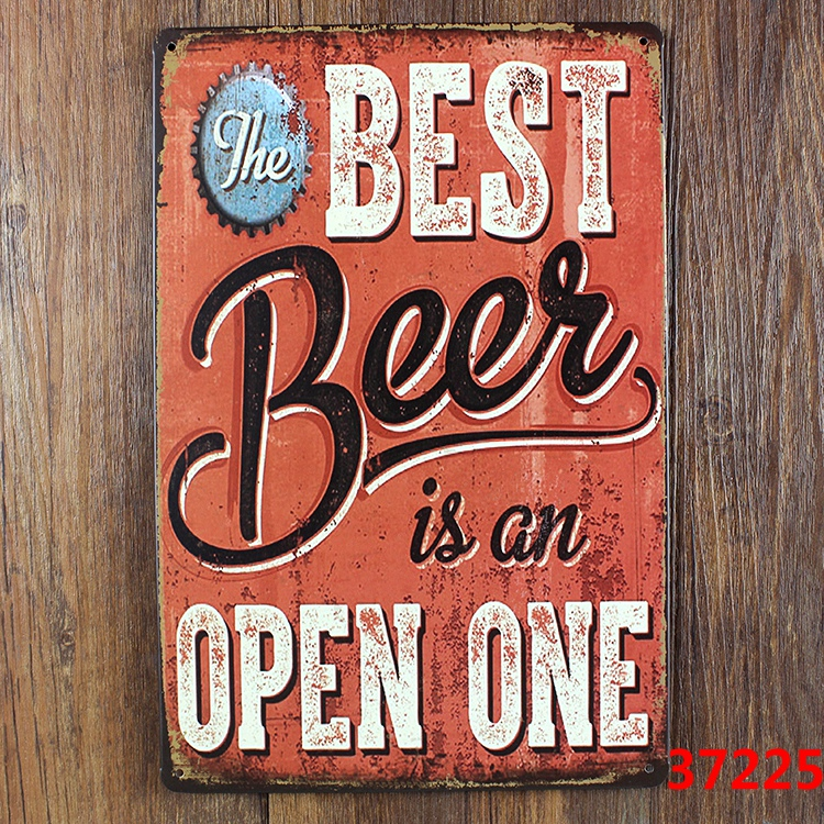 Wall Decor For Home Bar : The best beer is an open one retro metal tin sign decor