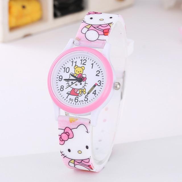 2019 KT Kids Watches Girls Children Pink Dress Wrist Watch Cute Child Cartoon Si