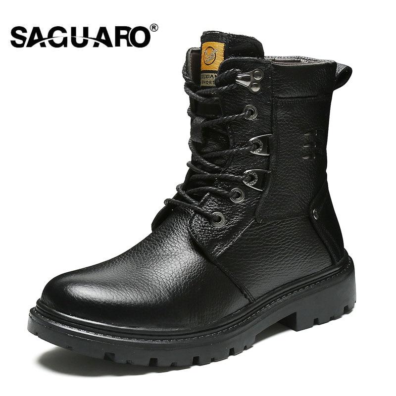 SAGUARO Miehet Martin Boots Genunie Nahka Warm Pehmo Tactical Combat - Miesten kengät