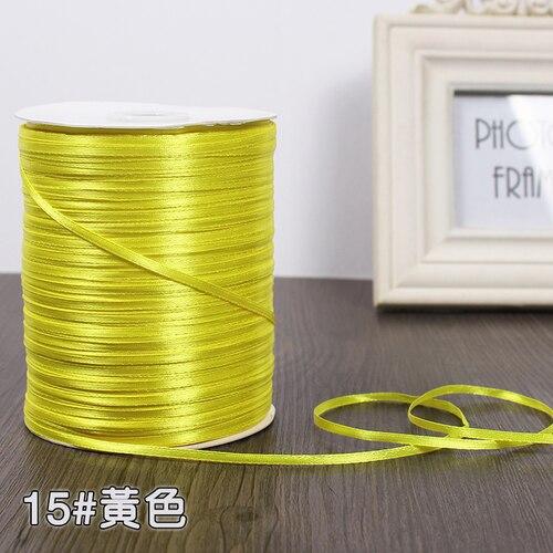 3 мм ширина бордовые атласные ленты 22 метра швейная ткань подарочная упаковка «сделай сам» ленты для свадебного украшения - Цвет: Yellow