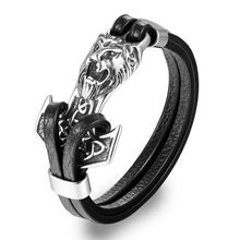 MKENDN High Quality Men Bracelets Stainless Steel Anchor Lion Shackles Leather Bracelet Men Wristband Fashion Jewelry Pulseras(China)