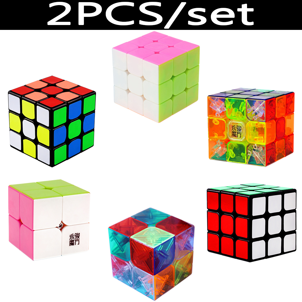 2PCS/set Professional 2*2 3*3 Magic Cubes Speed YJ Rubix Rubic Cubes 2x2 3x3 Cubo Megico 2PCS Cube-stands as Gift