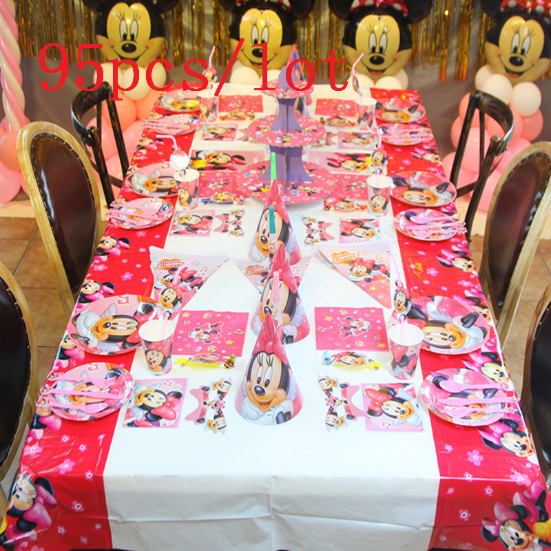 Party Supply Disney Minnie Mouse Cup+Plate+Napkin+Banner Wedding Baby Shower Kid Birthday Party Blowout Gift Bag Supply 95Pcs