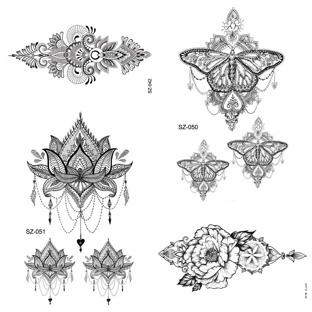 Black Henna Flower Temporary Tattoo Stickers Women Body