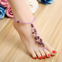 ZOSHI Beach Barefoot Sandals Bohemian Anklets Long Feet Jewelry Colorful Stone Tobilleras Ethnic Anklet wholesale price