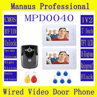 High Quality Professional 7 Inch Video Door Phone Doorbell Intercom System RFID Keyfob IR Camera  2-monitor D40C