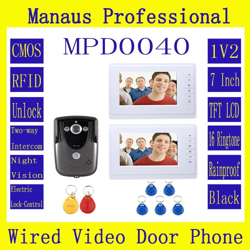 High Quality Professional 7 Inch Video Door Phone Doorbell Intercom System RFID Keyfob IR Camera  2-monitor D40C