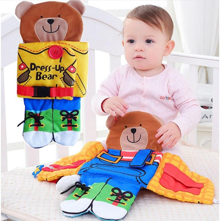 Медведь одежда животных Ткань Книга Детские трехмерные раннего детства обучения Детские Игрушки для раннего образования WJ416