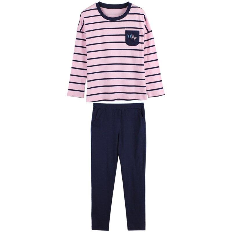 Brand Long Sleeved Cotton Pajamas Sweet Girl Pyjama Striped Sleep Lounge Pajama Sets Femme Women's Sleepwear Home Clothing