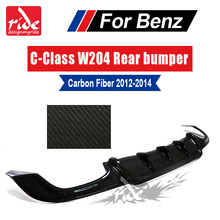 W204 Carbon Fiber Rear Lip Diffuser Spoiler for Mercedes Benz C-Class C180 C200 C350 C400 C300 C280  & C63 Bumper 2012-2014