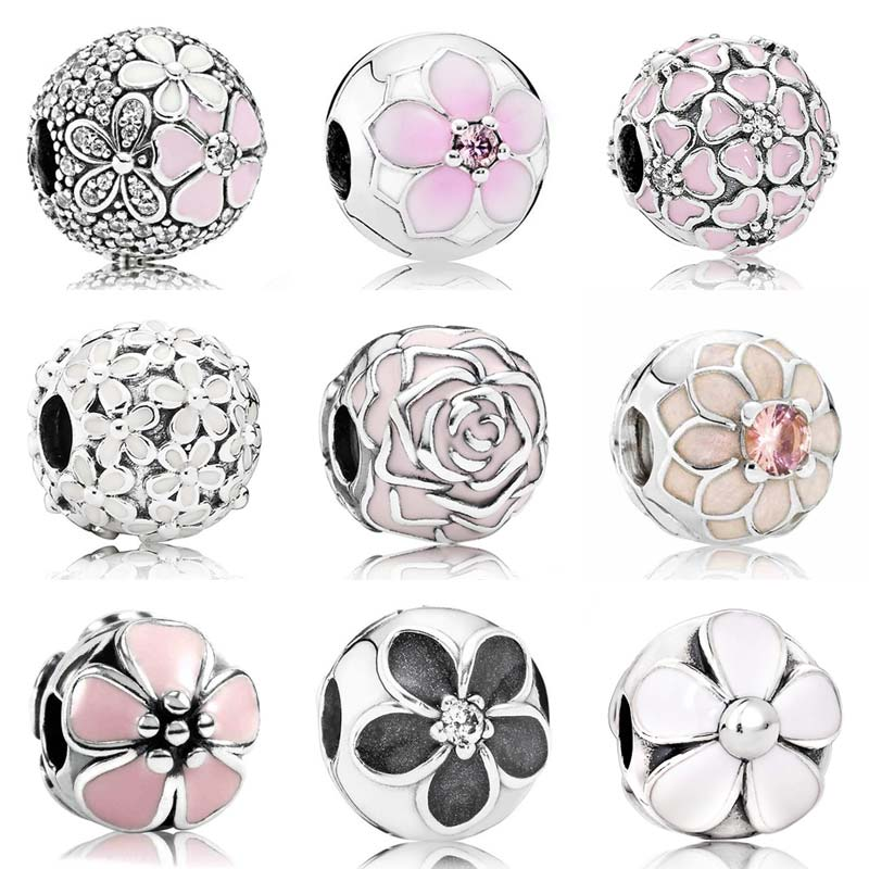 2377c9c6a Pink Enamel Magnolia Poetic Cherry Bloom Daisy Flower Clip Stopper Beads  Fit Pandora Bracelet 925 Sterling Silver Charm Jewelry