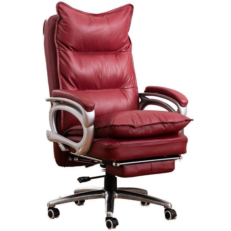Cuir de vachette 515 bureau Poltrona Esports chaise patron chaise avec roue en cuir véritable peut mentir ergonomie avec repose-pieds Massage