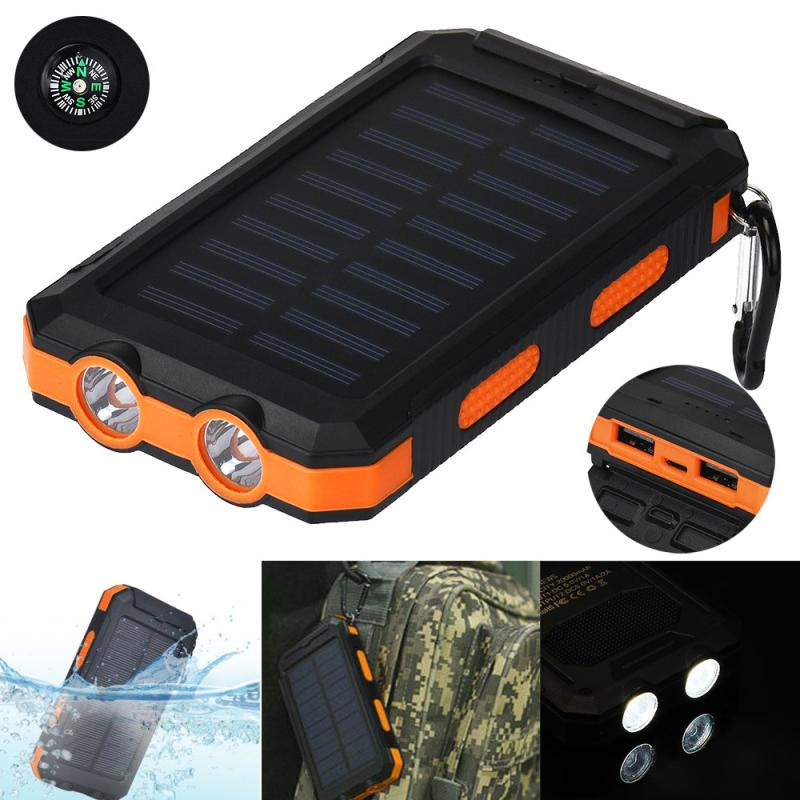 ISHOWTIENDA Universal Stylish Waterproof 20000mAh Dual USB Portable Solar Charger Solar Power Bank 5V 2.1A/1A For Cell Phone