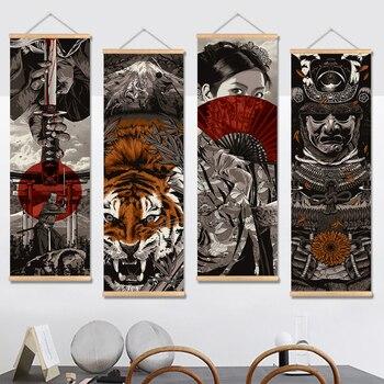 Японский самурай ВИНТАЖНЫЙ ПЛАКАТ и печатная графика прокрутки живопись холст стены искусства картины гостиной спальни фермерский дом укр...
