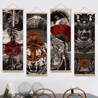 Samurái japonés Ukiyoe pergamino cartel de pintura de la lona arte de la pared de Decoración de casa fotos habitación decoración dormitorio desplácese pintura