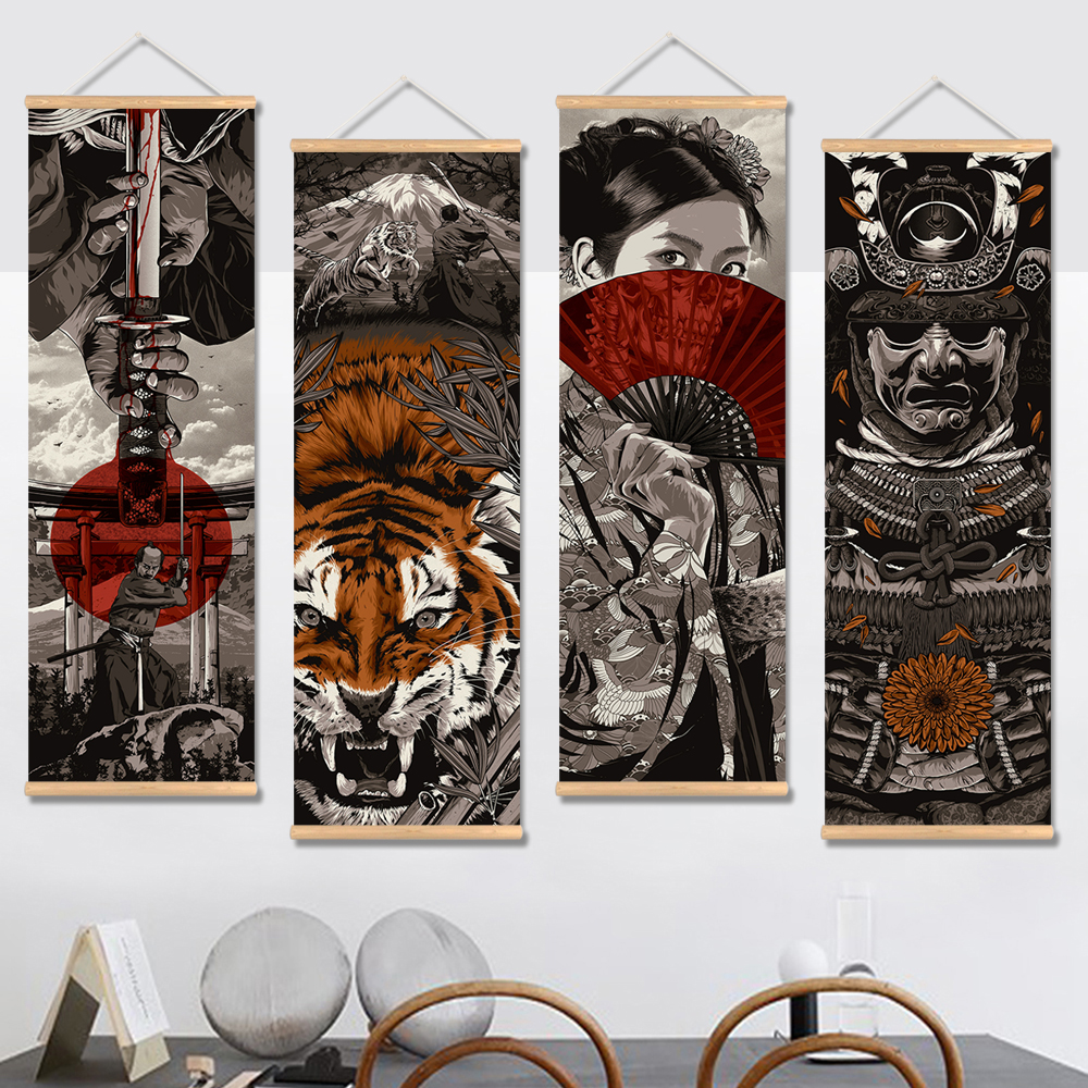 Japan Samurai Vintage Poster and Prints Scroll Painting Canvas Wall Art Pictures Living Room Bedroom Farmhouse Decoration image
