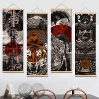 Japan Samurai Vintage Poster und Drucke Scroll Malerei Leinwand Wand Kunst Bilder Wohnzimmer Schlafzimmer Bauernhaus Dekoration