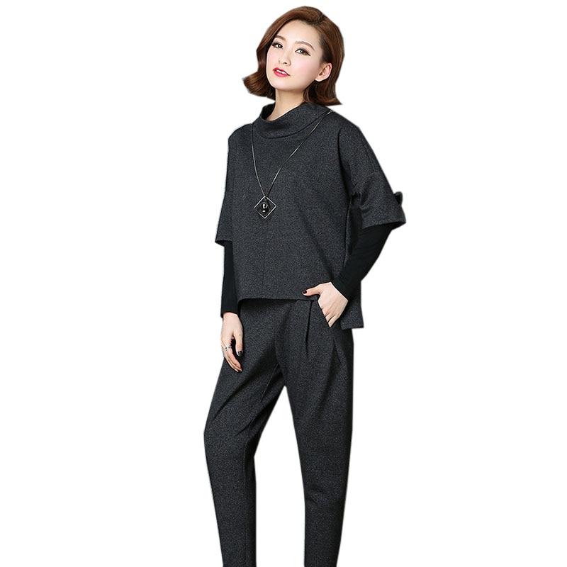 Mode Occasionnel Ym511 Pull Pantalon Costume pièce Longues Printemps De Noir Dames Femelle Manches Bureau Chemise gris Deux À 2018 Slim qAOEBwFxx