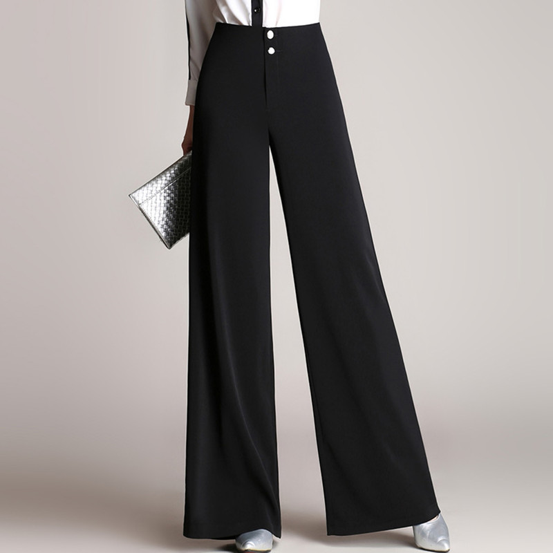 Elegant Office Ladies Wide Leg Pants High Waisted Spring Autumn Long Black Pants Women Double Buttons Palazzo Pants Trousers