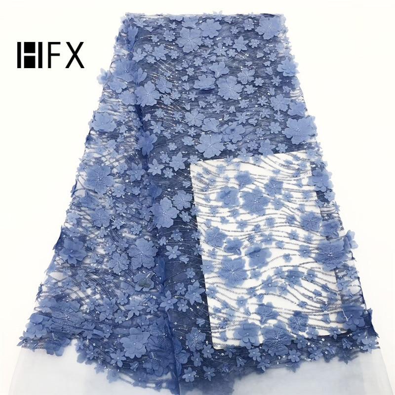 Tissu de dentelle 3D de 5 yard avec des fleurs bleues, tissu de dentelle brodé avec des fleurs 3D tissu de dentelle de mariée, tissu de dentelle de tulle français-in Dentelle from Maison & Animalerie    1