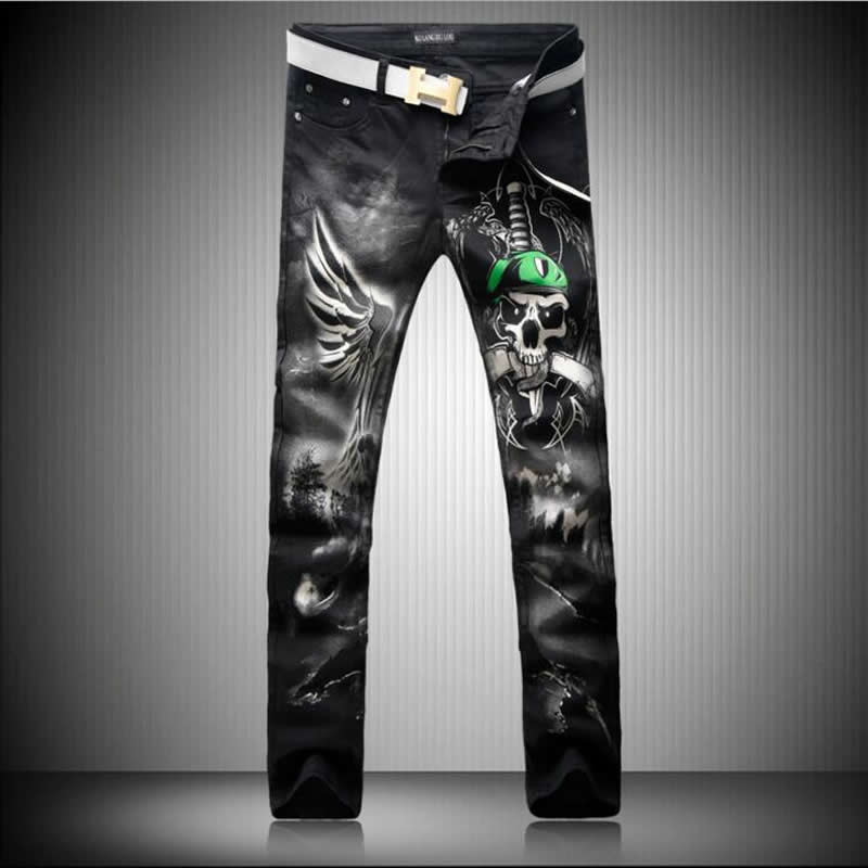 3D Skull Print Black font b Jeans b font New Arrival Man Long Trousers