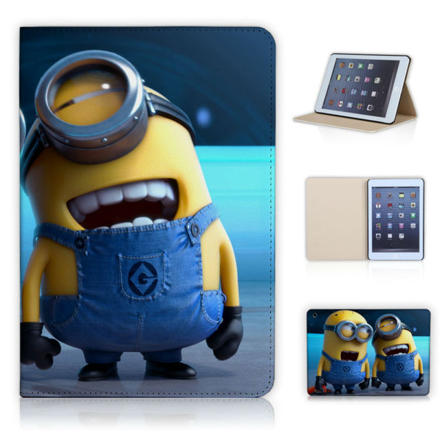 Batianda Laughing Cute Minions Magnetic Stand PU Leather Case for iPad Mini 1 2 3 Cover for iPad Mini retina Leather Skin