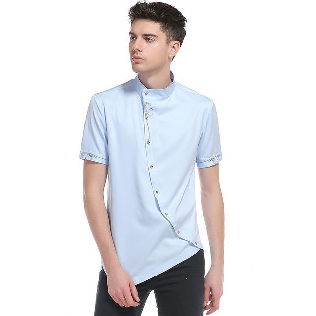 Summer Fashion Casual Brand Slim Fit Short Sleeve Tuxedo Shirts Mens  Embroidered Solid Color Stand Collar 3084ff456