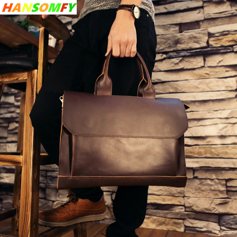 Fashion 14 Laptop Men 100% Genuine Leather Crazy Horse Messenger Bag Crossbody Shoulder Diagonal Business vintage briefcase Bag