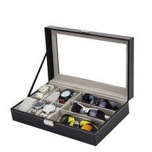 6 Grid Leder Uhr Lagerung Organizer Mit Sonnenbrille Lagerung Box Gläser Schmuck Display Container Fenster Box Für Mann Geschenke