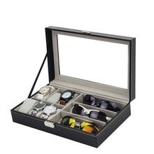 6 شبكة الجلود ساعة التخزين المنظم مع النظارات الشمسية صندوق تخزين النظارات والمجوهرات عرض الحاويات صندوق النافذة للهدايا رجل