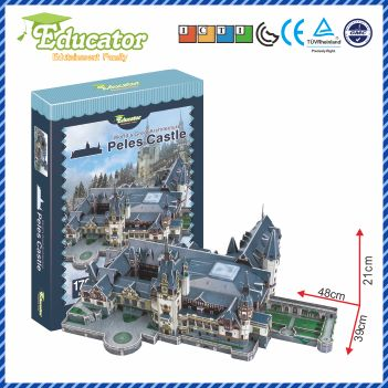 3D Puzzle Model Kertas Permainan Diy Peles Castle Romania Model