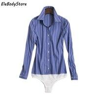 ELEBODYSTORE 2017 Blusas Body Blouse Shirt Women Blouses Tops Long Sleeve Feminino Bodysuit Striped Shirts Casual