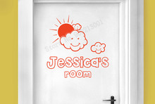 Personalized Name Door Sticker Beauty Kidsroom Babyroom Home Decoration Vinyl Art Design Ornament Poster Mural Removeable LY1037