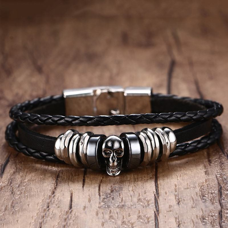 Mens Skull Calavera Braslet Bracelets in Black Braided Leather Rope Woven Wrap Cuff Pulseira for Men Armband Jewelry Bileklik