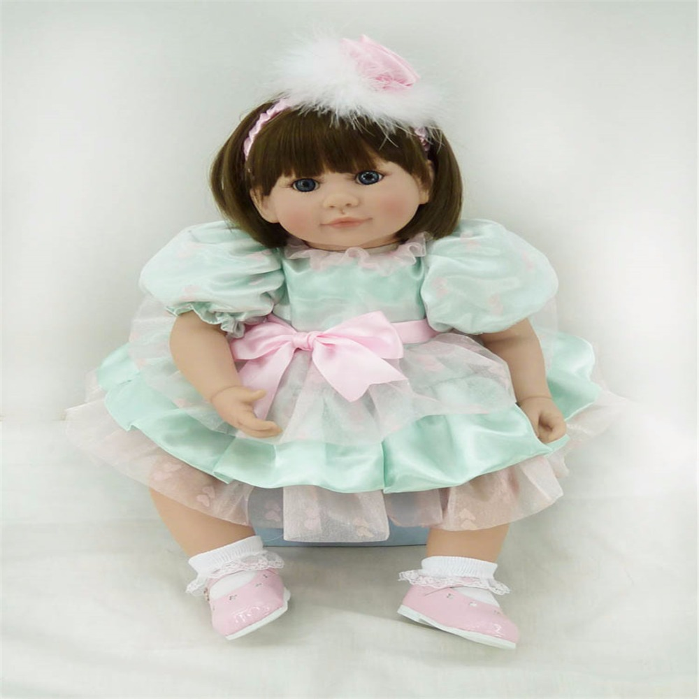 20 inch 50cm Silicone baby reborn dolls Children's toys green princess skirt short hair girl игрушка princess love дракончик дино 50cm green