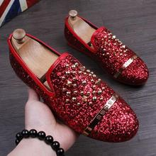 New Arrival Men Sequins Casual Shoes Designer boat Rivet Shoe Luxury Party Dress Zapatillas Deportivas Loafers Red