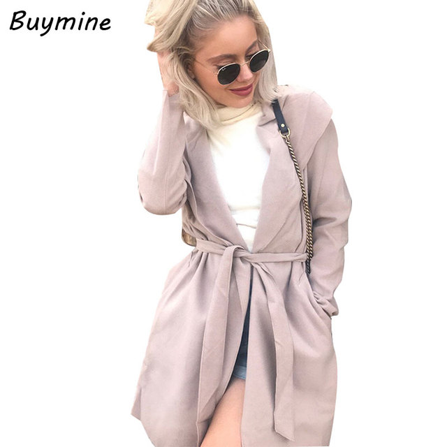 Light Pink Hooded Cardigan Trench Coat Warm Fleece Autumn Winter ...