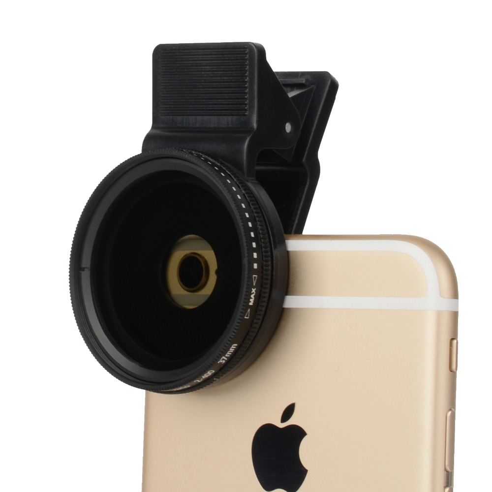ZOMEI 37mm Cell Phone Camera Lens Professional ND Circular Polarizer Filter ND2-ND400 For IPhone/6/6s Plus Samsung With Clip